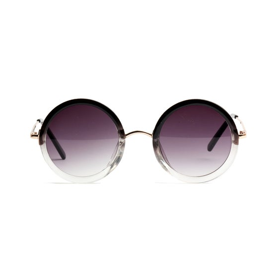 Image of Black & Clear Ombré Circle Sunglasses