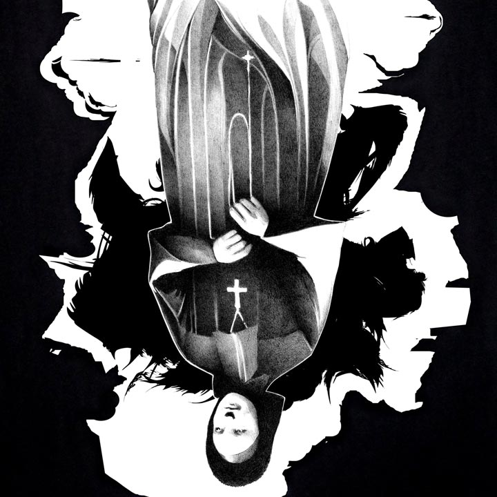 Image of NUN - women's black t-shirt by Jim Darling