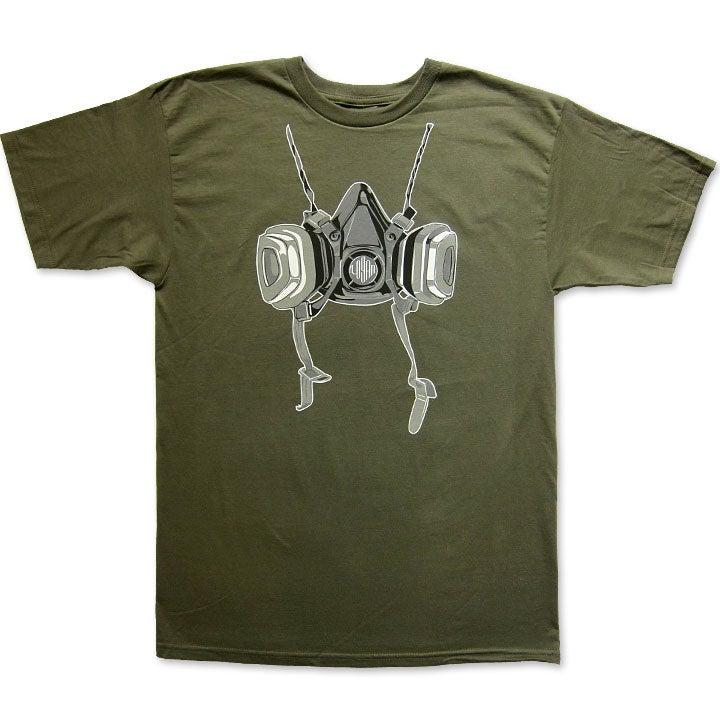 Image of RESPIRATOR - men's military green t-shirt by Logan Hicks