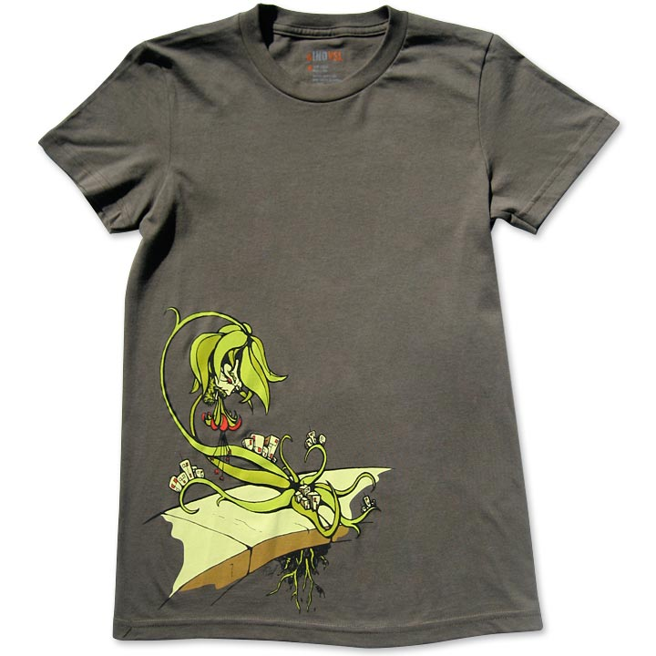 Image of LIFE CYCLES - women's olive t-shirt by Daryll Peirce