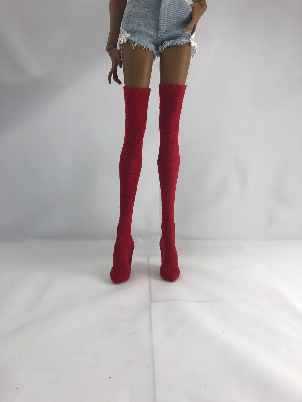 Red Suede Thigh High Boots: Pidgin Doll