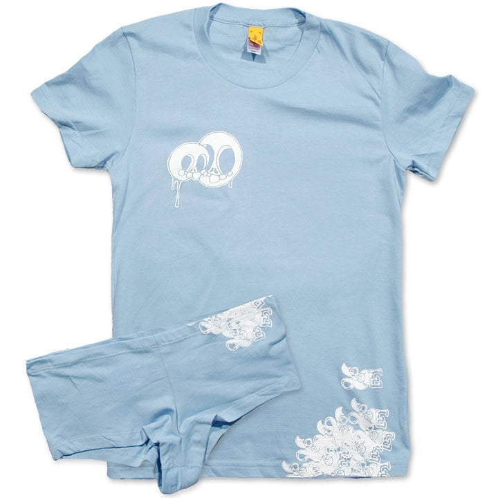 Image of LOVE SKULLS - women's baby blue tee & undies set
