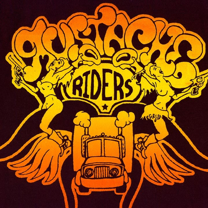 Image of MUSTACHE RIDERS - men's brown & sunset t-shirt