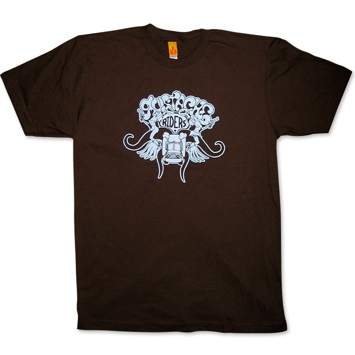 Image of MUSTACHE RIDERS - men's brown & blue t-shirt