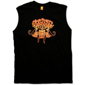 Image of MUSTACHE RIDERS - men's black & sunset sleeveless