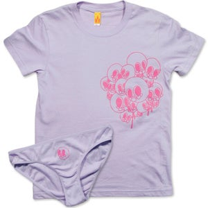 Image of SKULLSALOT - women's lavender tee & undies set