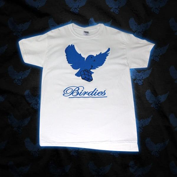 Image of White/Blue Birdies Shirt