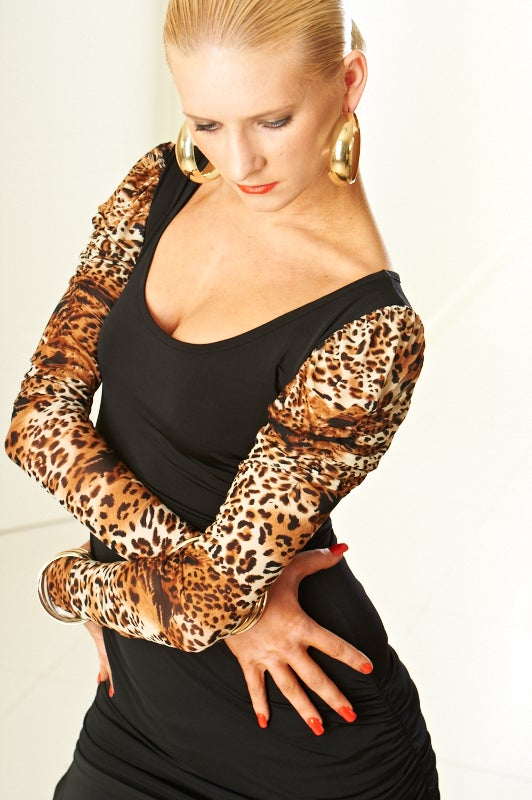 Image of Scoop Neck - Puff Sleeved (E5985) Dancewear latin ballroom