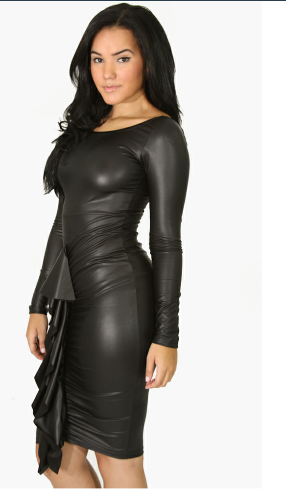 Image of Leather Bodycon Dress