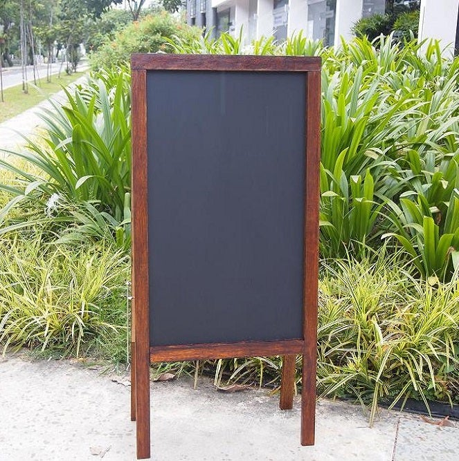 Image of Medium Double Sided Standing Chalkboard with Walnut Frame (90cm X 60cm)