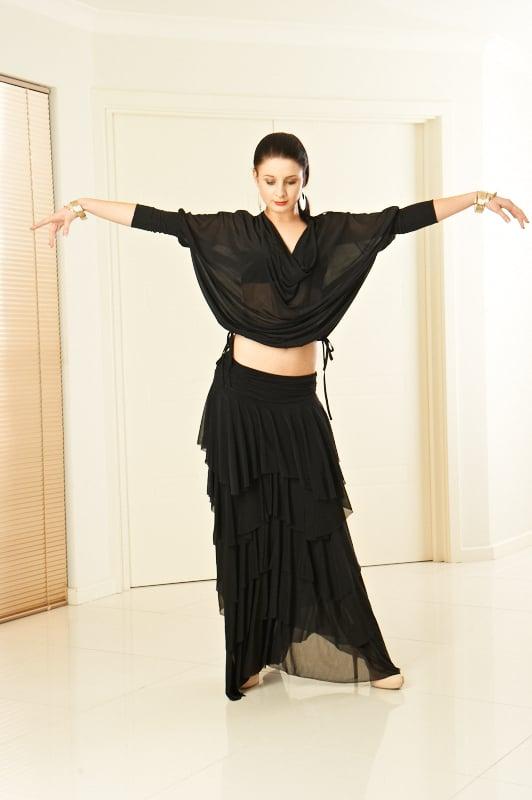 Image of Long Tissue Skirt (J6056A) Dancewear latin ballroom
