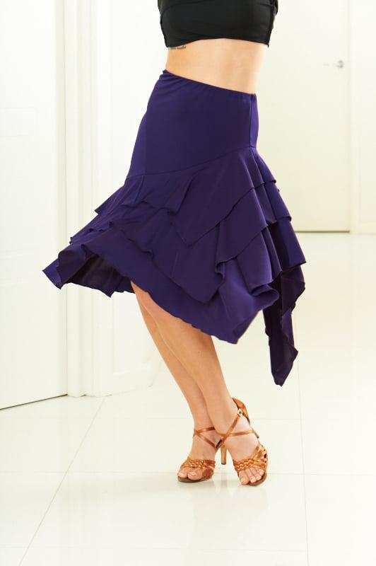 Image of Latin Flamenco Skirt - Purple J1810 Dancewear latin ballroom