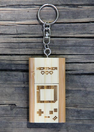 Image of Personalized Bamboo 4 GB USB Wood Flash Drive Keychain - 8 bit Game Controller
