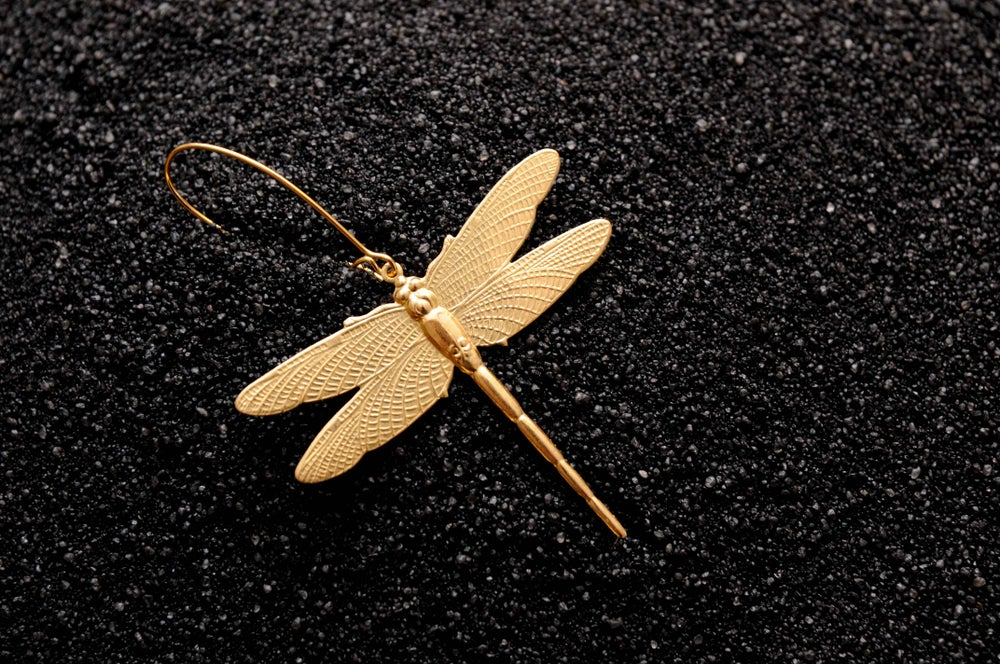 Image of Dragonfly earring silver plated brass
