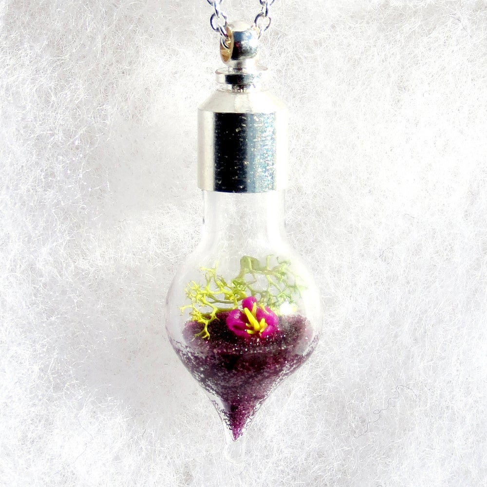 Image of Nature Jewelry - Purple Blossom Nature Necklace, Purple Pendant Necklace
