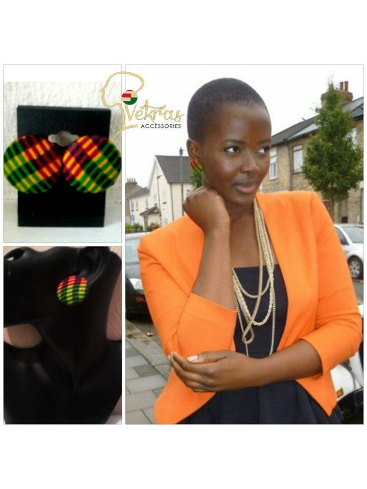 Image of Vekras kente handmade stud earrings