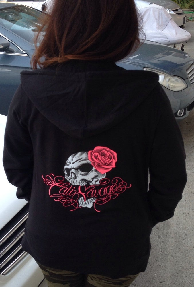 Image of Ladies Zip Up Hoody CS skull rose
