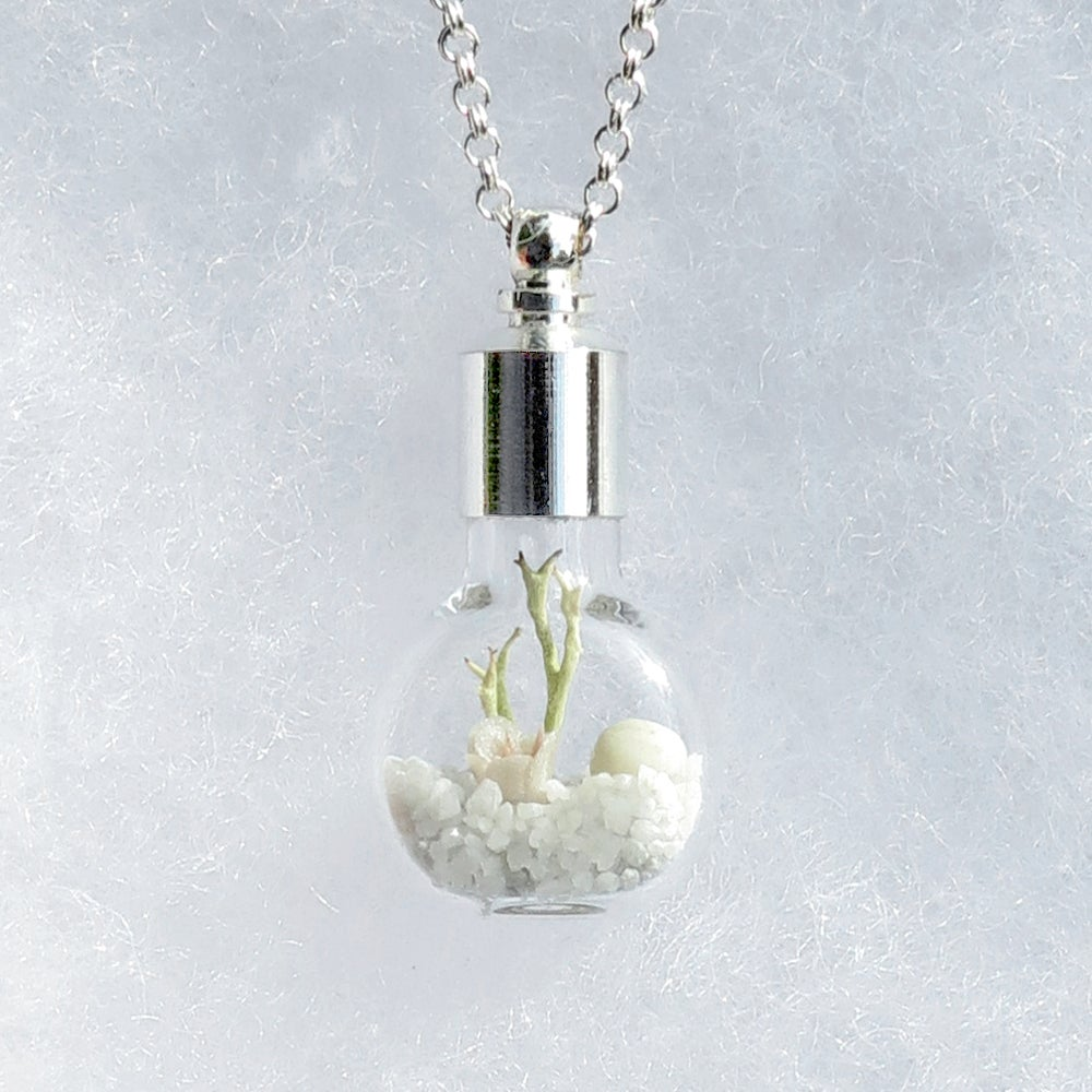 Image of White Wedding Necklace, Winter Landscape Fairy Garden