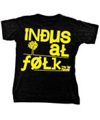 Image of Mens Black Industrial Folk T-Shirt with Yellow Print