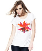 Image of Ladies White Slim-Fit T-Shirt with TJF Communication Tower Logo
