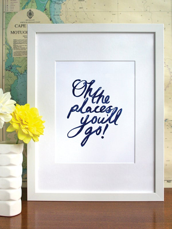 Image of Oh the places you'll go! art print - Navy Blue