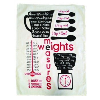Image of weights and measures tea towel