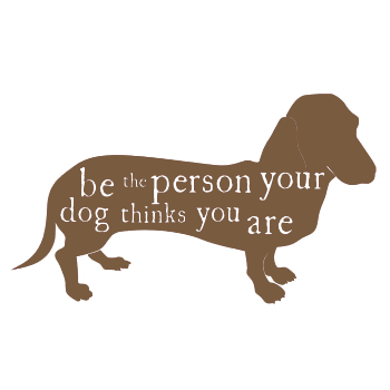 Image of 'be the person your dog thinks you are' tea towel
