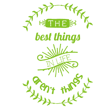 Image of 'the best things in life aren't things' tea towel