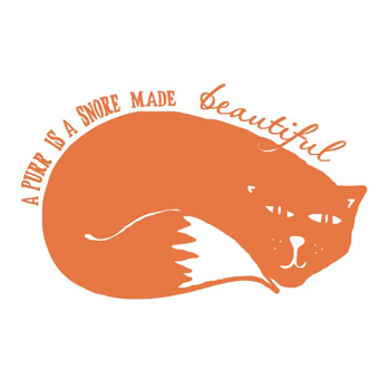 Image of 'a purr is a snore made beautiful' tea towel