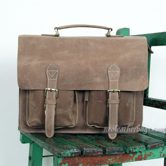 "Image of Vintage Handmade Crazy Horse Leather Briefcase Messenger 14"" 15"" Laptop 13"" 15"" MacBook Bag (n67-11)"
