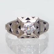 Image of RARE 18K Antique Art Deco Diamond Filigree Engagement Ring