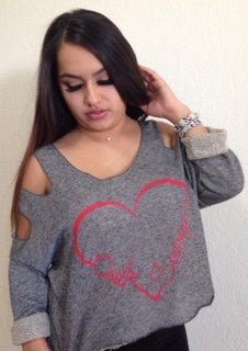 Image of Ladies - Cold Shoulder CS Heart Sweater