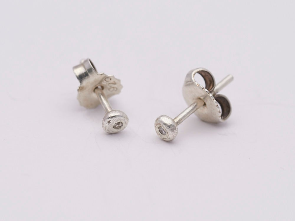 Image of Super Tiny Silver Diamond Set Studs