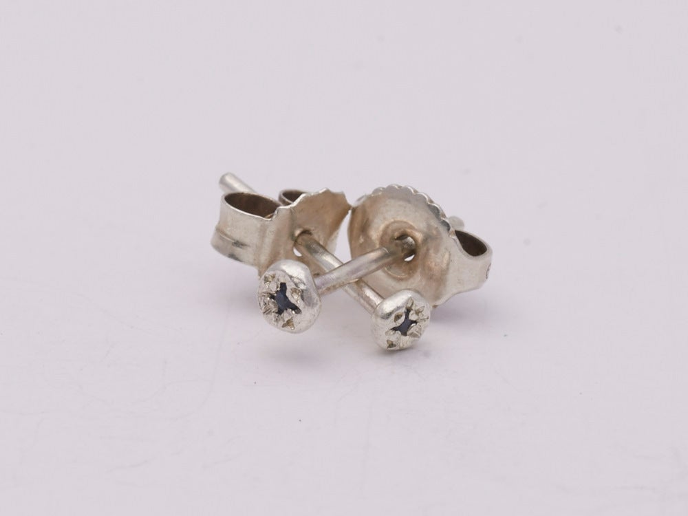 Image of Super Tiny Silver Sapphire Set Studs