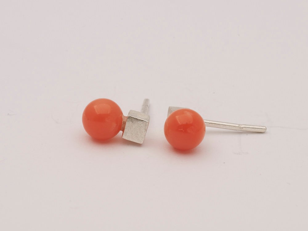 Image of Pink Coral Square Sphere Studs