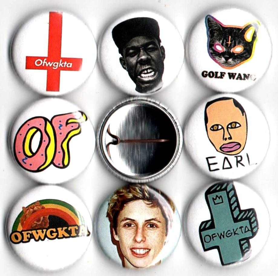 panic buttons ofwgkta tyler the creator 1 pin set of 8