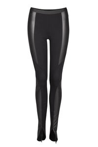 Image of Black shiny seam leggins