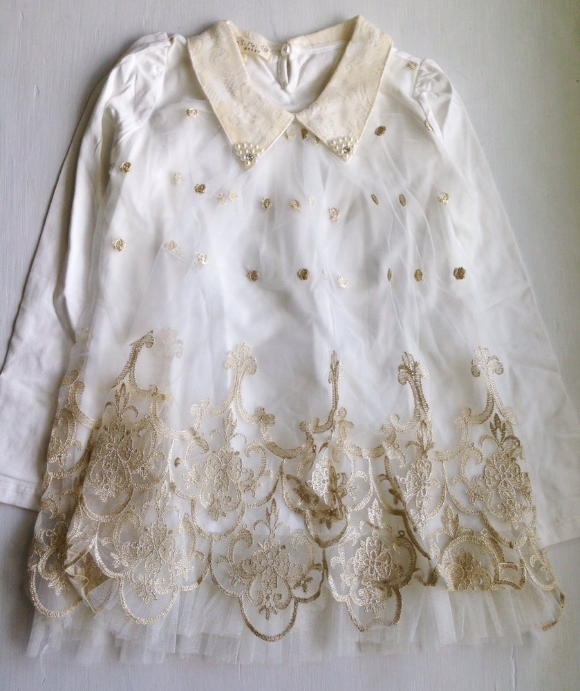 Image of Lace Top with Gold Detail