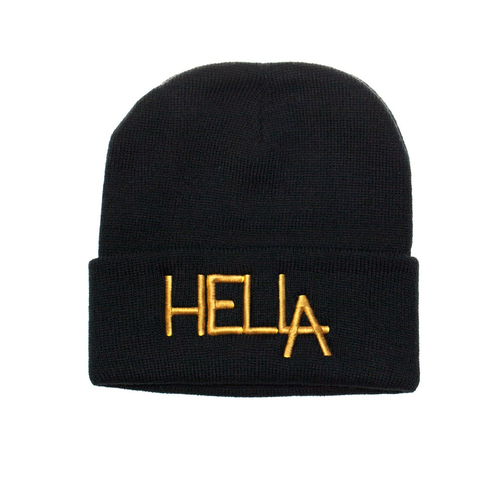 Image of Black HelLA Beanie with Gold Embroidery