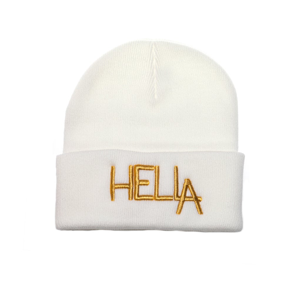Image of White HelLA Beanie with Gold Embroidery