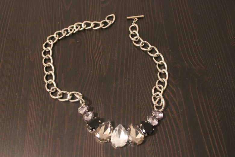 Image of Silver Chain with Black, Grey and Silver Gem Drops