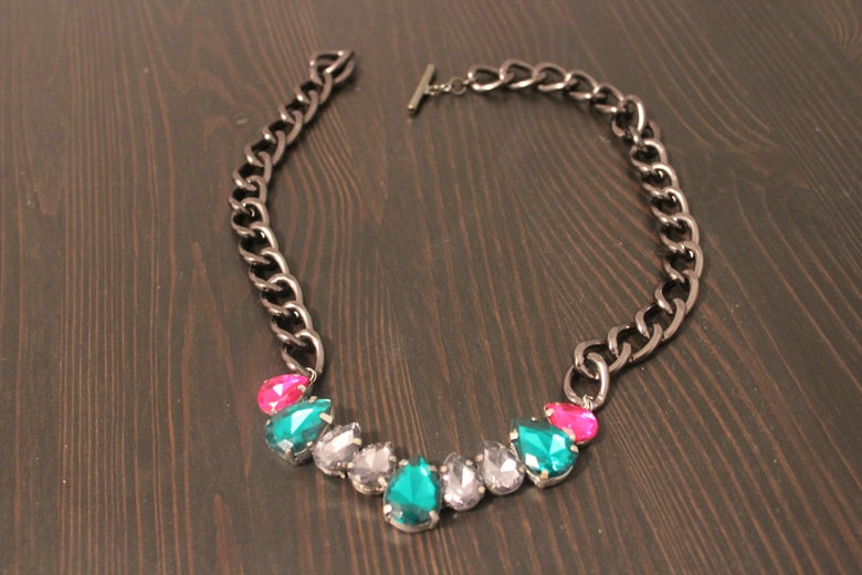 Image of Gun Metal Chain with Grey, Green and Pink Gem Drops