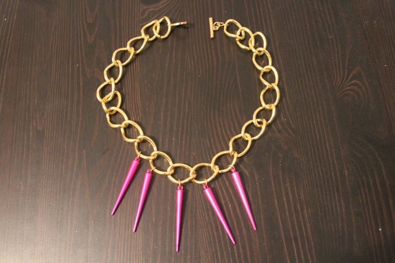 Image of Gold Chain with Metallic Pink Spikes