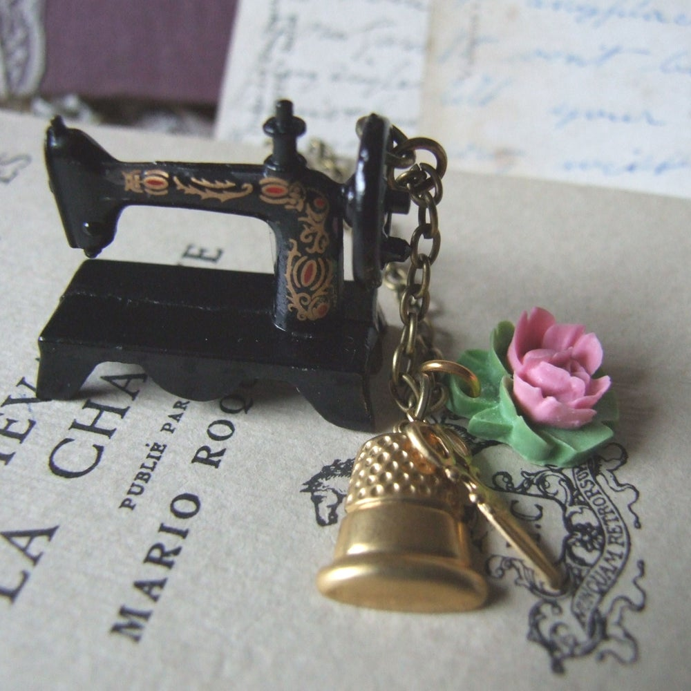 "Image of ""SEW MUCH TO DO"" Quirky Sewing Machine Necklace"