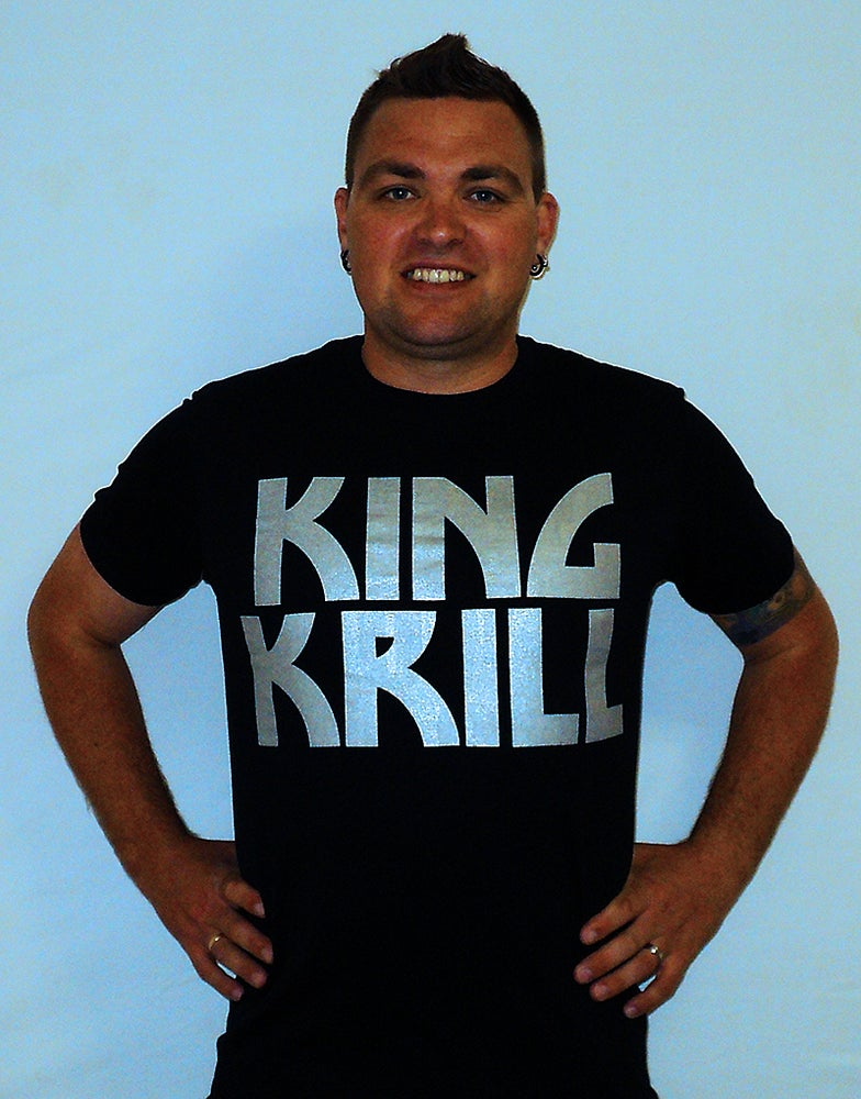 Image of King Krill 'Kiss Krill' Retro Design T-Shirt (BLACK)