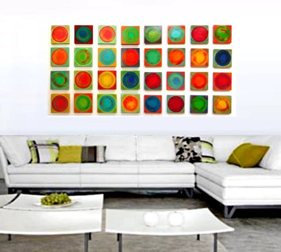 Image of 'DANCING CIRCLES 32' | Painted Wood Wall Sculpture | Custom Art