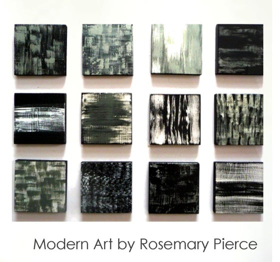 Image of 'POETIC 12' | Set of Black, White, Silver Paintings | Painted Wood Wall Art | Abstract Sculpture