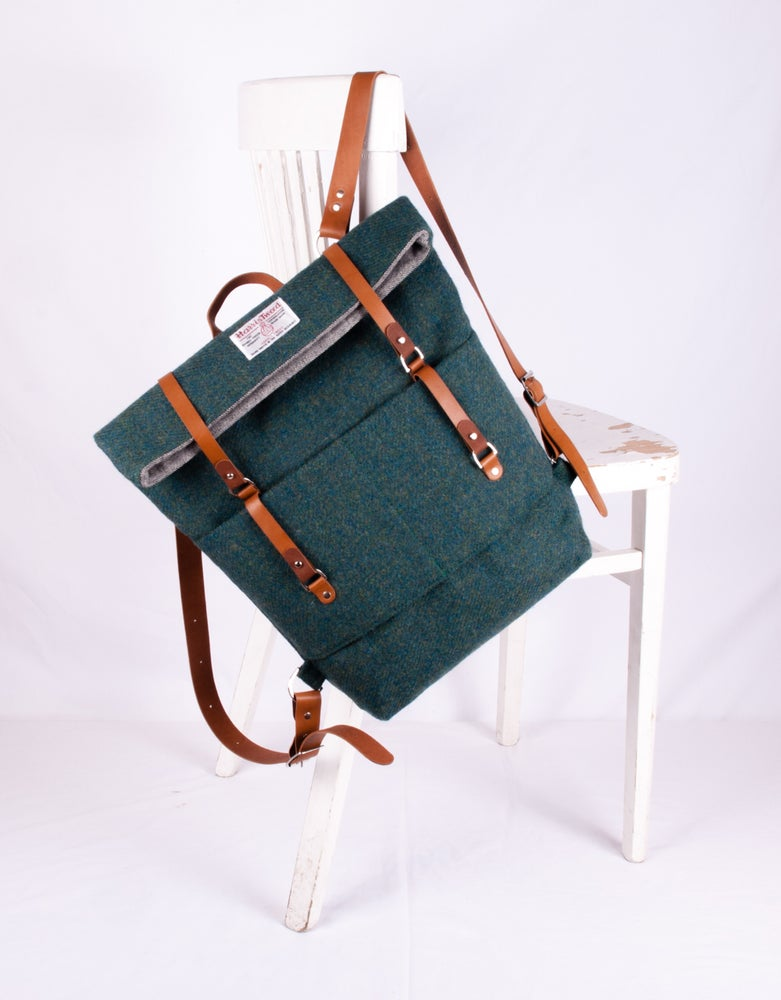 Image of Harris Tweed Emerald Green Roddy Backpack