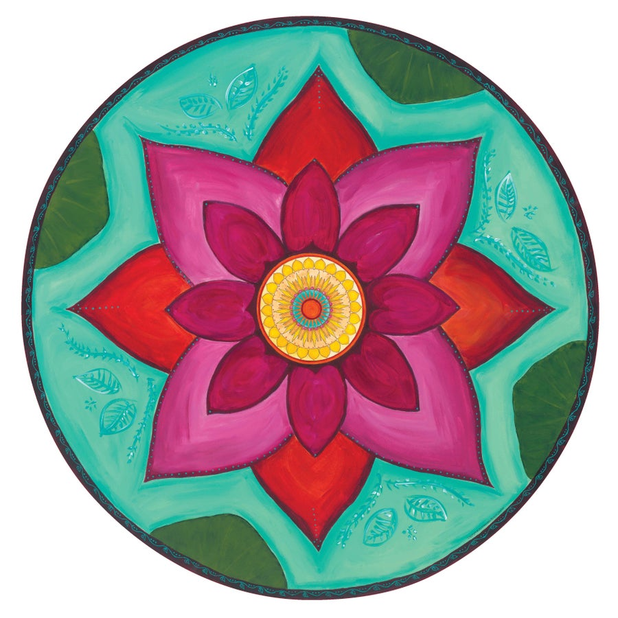 "Image of ""New beginnings""- Pink Lotus Meditation Mat (Giclee art print)"