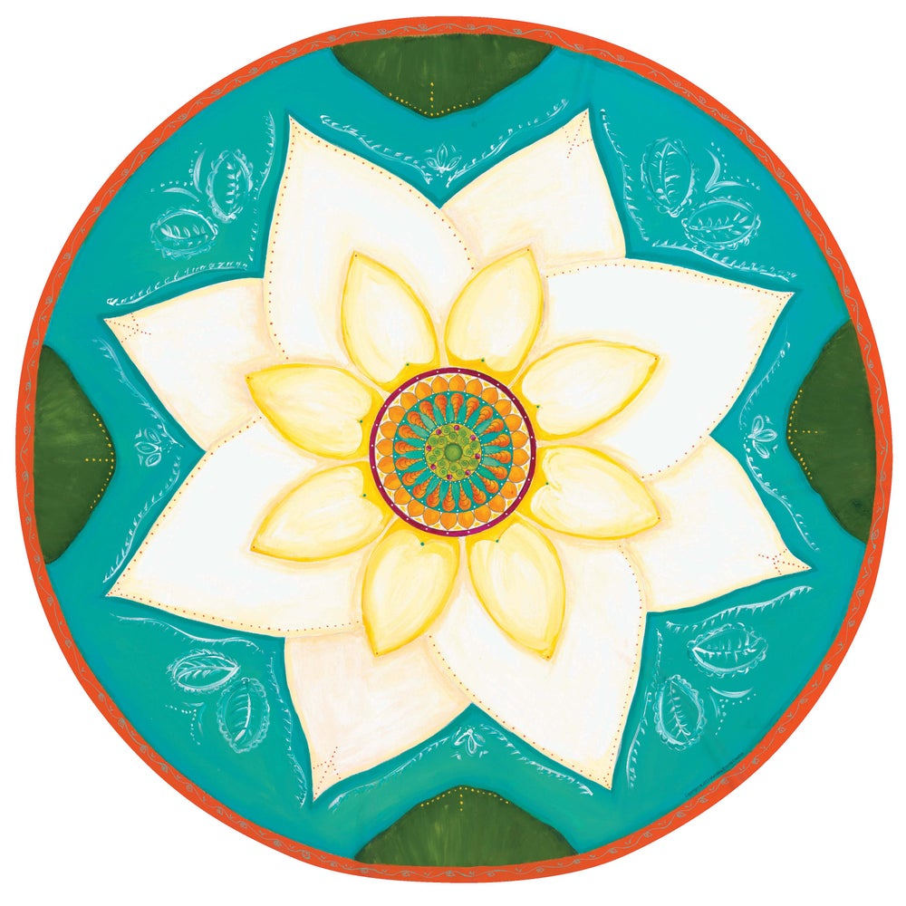 "Image of ""Spiritual awakening""- White Lotus Meditation Mat (Giclee art print)"